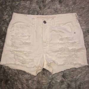 American Eagle high rise white ripped shorts